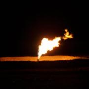 oil field flare at night